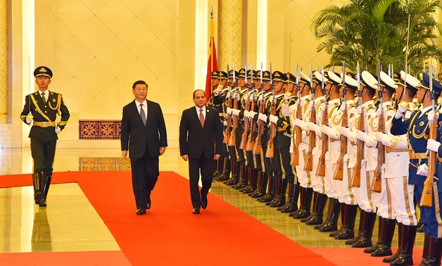 President Abdel Fatah al-Sisi (L) with Chinese counterpart Xi Jinping in Beijing on September 1, 2018 - Press photo/Presidency