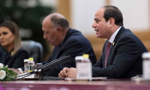 ASF3640 - Beijing : Egypt's President Abdel Fattah al-Sisi (R) speaks with China's President Xi Jinping during a meeting at the Great Hall of the People on September 1, 2018. Al-Sisi is in China for the Forum on China-Africa Cooperation, which will be hel