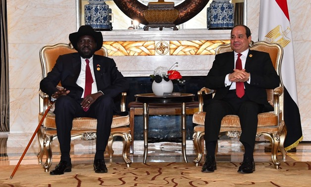 Sisi and Kiir during their meeting in Beijing - Press photo