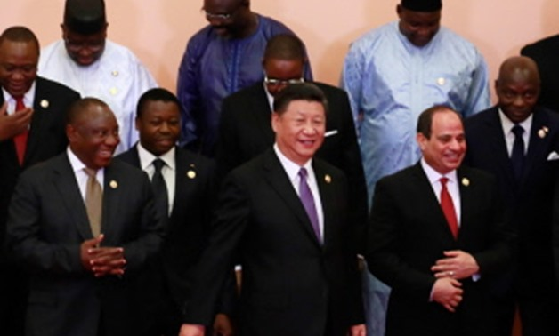 China's President Xi Jinping (front C), South Africa's President Cyril Ramaphosa (front L), Egypt's President Abdel Fattah al-Sisi (front R), Kenyas President Uhuru Kenyatta (2nd row L), Togo's President Faure Gnassingbe (2nd row 2nd L), Malawi's Presiden