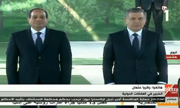 Egyptian President Abdel Fatah al-Sisi with his Uzbek counterpart Shavkat Mirziyoyev in Uzbekistan - Screen shot from Channel 1