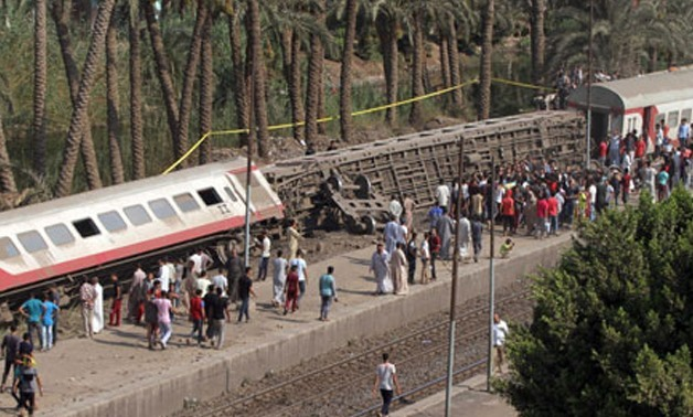 A passenger train derailed in Giza in Friday, leaving 57 people injured - Egypt Today/Khaled Kamel