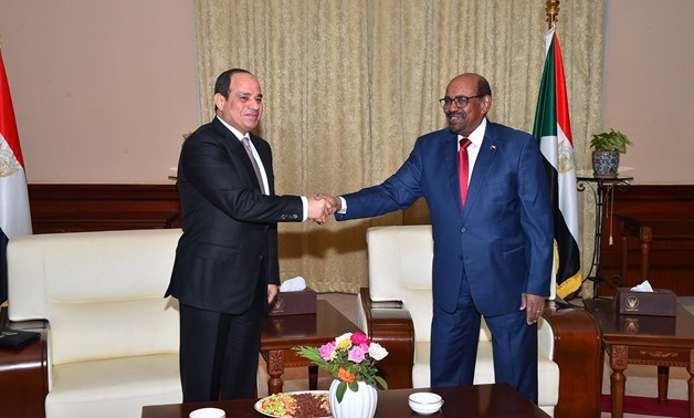 President Abdel Fatah al-Sisi and his Sudanese counterpart President Omar Bashir in Khartoum on July 19, 2018 - Press Photo