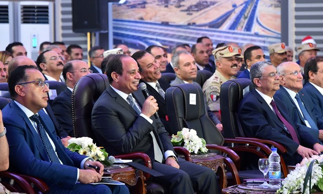 President Sisi speaking during the inauguration of a number of  roads and bridges- Press photo