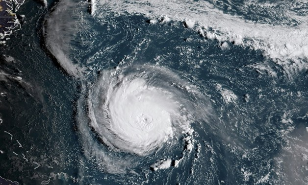 This NOAA/RAMMB satellite image shows Hurricane Florence off the US East Coast in the Atantic Ocean