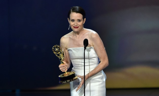 Claire Foy after winning an Emmy for lead actress in a drama series during the 70th Emmy Awards.