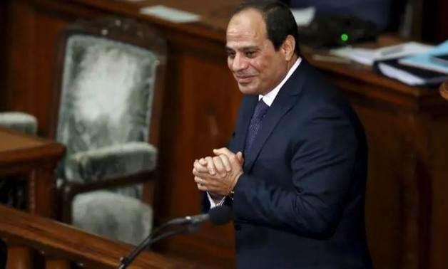 FILE- FILE - President Abdel Fatah al-Sisi reacts after delivering a speech at the lower house of parliament in Tokyo on February 29, 2016 - Reuters