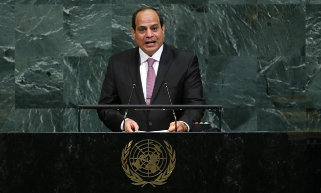 Egyptian President Abdel Fattah Al Sisi addresses the 72nd United Nations General Assembly at U.N. Headquarters in New York, U.S., September 19, 2017- REUTERS/Eduardo Munoz