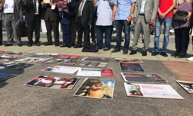 Al-Ghufran organizes exhibition in Broken chair courtyard exposing Qatari regime human rights violations