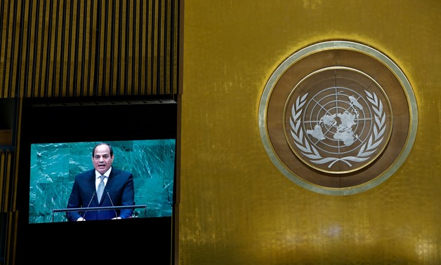 Egypt's President Abdel Fattah al-Sisi is seen on a screen as he addresses the 73rd session of the United Nations General Assembly at U.N. headquarters in New York, U.S., September 25, 2018. REUTERS/Eduardo Munoz
