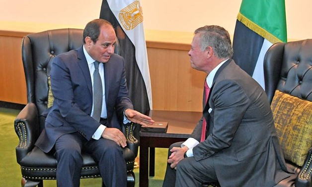 President Abdel Fatah al-Sisi during his meeting with King Abdullah II bin Al-Hussein on the sidelines of the United Nations General Assembly meeting in New York Tuesday - Press photo
