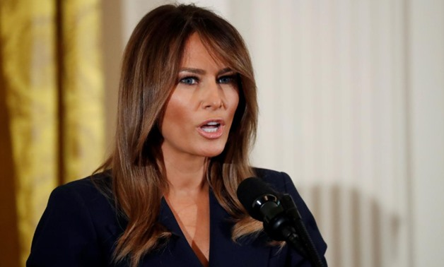 First lady Melania Trump participates in a celebration of military mothers and spouses at the White House in Washington, U.S., May 9, 2018. REUTERS/Leah Millis