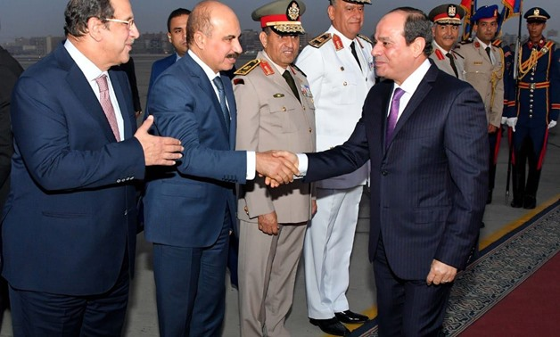 Egyptian President Abdel Fatah al-Sisi returned to Cairo on Friday after participating in the UN General Assembly 73rd meetings – Press Photo