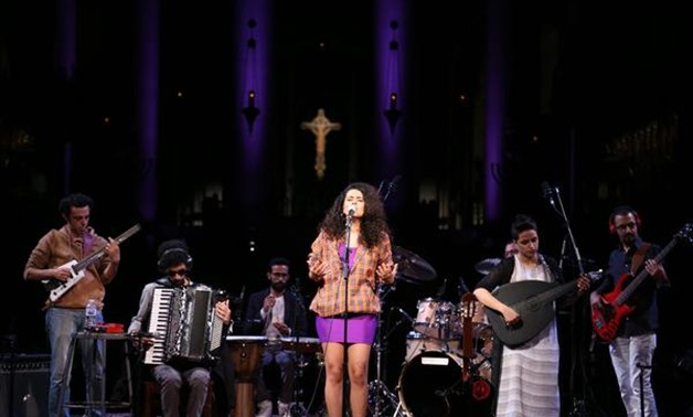 Dina el-Wedidi's band perform at Cathedral of Saint John the Divine in New York - Photo by Nourhan Magdi.