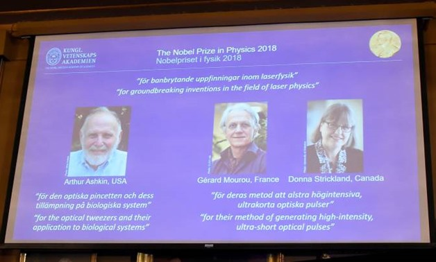 The Nobel Prize laureates for physics 2018 Arthur Ashkin of the United States, Gerard Mourou of France and Donna Strickland of Canada are announced at the Royal Swedish Academy of Sciences in Stockholm, Sweden, October 2, 2018. Hanna Franzen/TT News Agenc