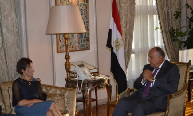 Minister of Foreign Affairs Sameh Shoukry during his meeting with United Nations special rapporteur on adequate housing Leilani Farha in Cairo – Press Photo.