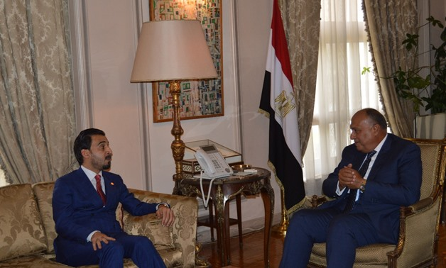 Minister of Foreign Affairs Sameh Shoukry met with Iraqi Parliament Speaker Mohamed al-Halbousi - Press photo