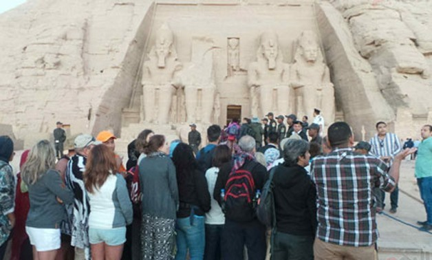 A number of tourists witnessing the Sun Festibal at Abu Simpel temple in Aswan - photo