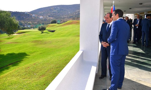 President Abdel Fatah al-Sisi with Greek Prime Minister Alexis Tsipra in Crete, Greece - Press Photo
