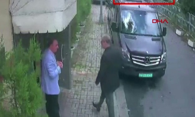 Saudi journalist Jamal Khashoggi (R) arriving at the Saudi consulate in Istanbul on October is seen on a video grab from CCTV footage obtained from Turkish news agency DHA