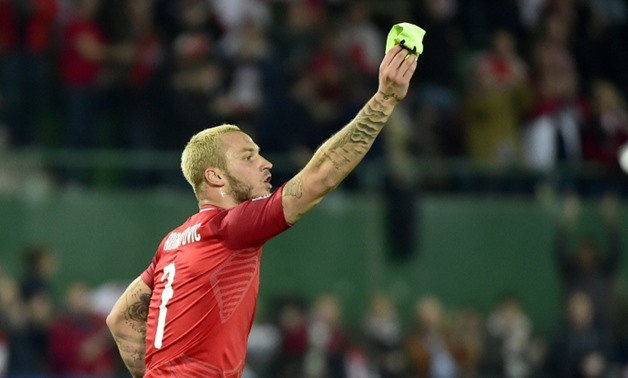 Austria captain Marko Arnautovic celebrates scoring the winner over Northern Ireland in their Nations League clash on Friday.