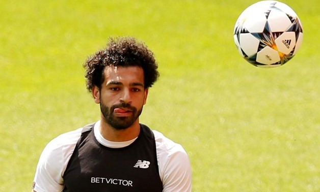 Soccer Football - Champions League - Liverpool Training - Anfield, Liverpool, Britain - May 21, 2018 Liverpool's Mohamed Salah during training REUTERS/Andrew Yates