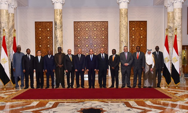 President Sisi and leaders of countries participating in the 2018 Cairo Water Week (CWW) pose for a photo- Press photo