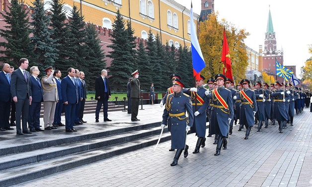 President Abdel Fatah al-Sisi witnesses a military rally in Red Square, Moscow. October 16, 2018. Press Photo