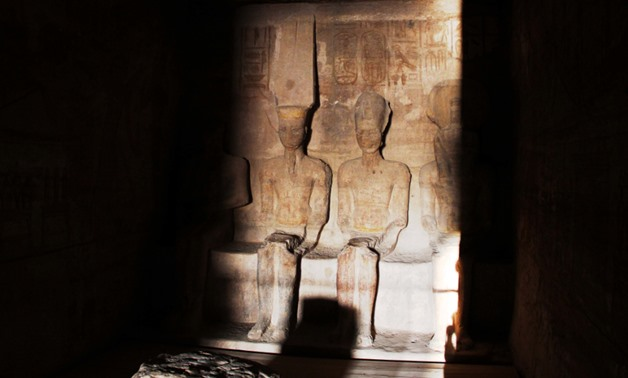 Sun illuminates Ramses II face in Abu Simbel temple in south Aswan for 20 minutes in a phenomenon that takes place twice a year - Muhammad Fawzy/Egypt Today