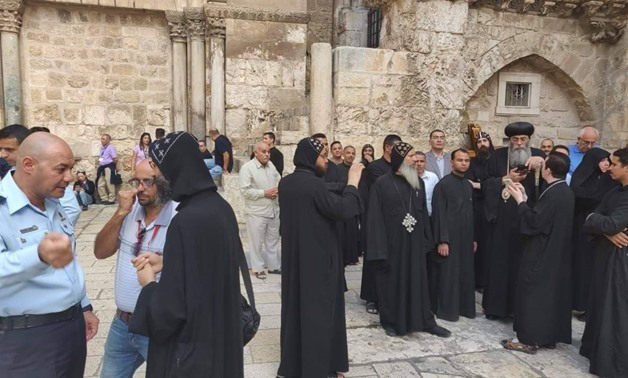 Monks of Deir El Soltan Monastery in Eastern Jerusalem after the Israeli police assaulted them during a peaceful protest. October 24, 2018.