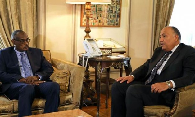 FILE - Egyptian Foreign Minister Sameh Shoukry (R) and his Sudanese counterpart Al-Dirdiri Mohamed Ahmed (L)