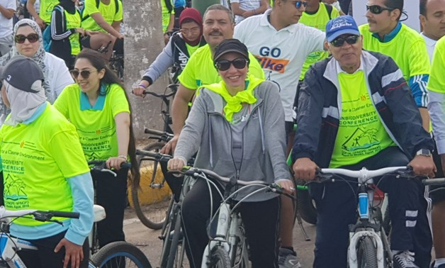 Minister of Environment Yasmine Fouad launched on Friday a bike race along Alexandria corniche - Hanaa Abu el-Ezz/ Egypt Today
