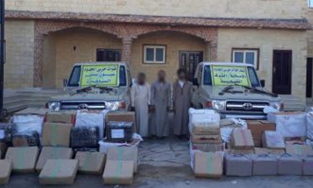 The Egyptian Armed Forces arrested smugglers on the western borders and confiscated vehicles, arms and drugs. October 27, 2018. Press Photo