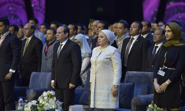 President Abdel-Fatah Al-Sisi called on the audience at the opening of the World Youth Forum's Theater, to stand up for a minute as an expression of grief for the attack's victims – Courtesy of President Sisi's Twitter Account