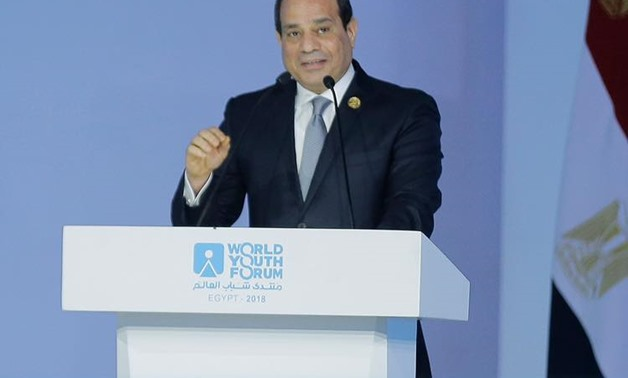 resident Abdel Fatah al-Sisi delivered a speech at the end of the first session of the World Youth Forum's on Sunday - Courtesy to Facebook page