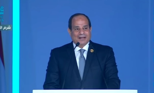 President Abdel Fatah al-Sisi gives a speech at the World Youth Forum 2018 - Youtube still/Ten channel