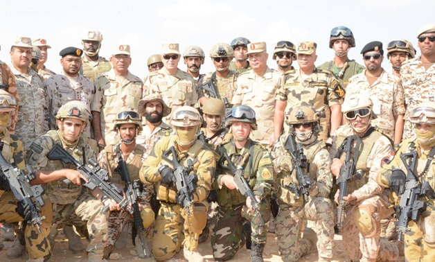 Chief of Staff Mohamed Faris with members of the armed forces of different Arab countries at Mohamed Naguib military base - Official Facebook page of the Egyptian military spokesperson