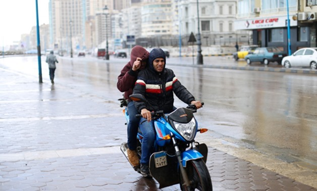 File- The bad weather and rainfall wave continues in Egypt's cities for the second day, Alexandria - FILE PHOTO