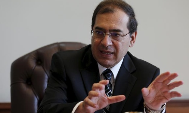 Tarek El-Molla, Egypt's Minister of Petroleum and Mineral Resources speaks during an interview with Reuters at his office in Cairo, Egypt, October 29, 2015.