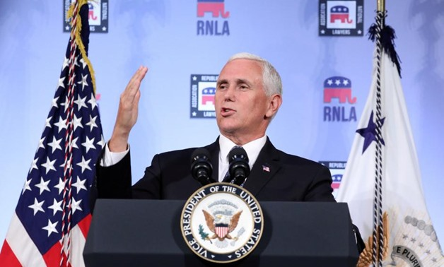 FILE PHOTO: U.S. Vice President Mike Pence delivers a speech at the Republican National Lawyers Association (RNLA) in Washington, U.S., August 24, 2018.