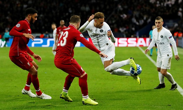Soccer Football - Champions League - Group Stage - Group C - Paris St Germain v Liverpool - Parc des Princes, Paris, France - November 28, 2018 Paris St Germain's Neymar in action with Liverpool's Xherdan Shaqiri and Joe Gomez Action Images via Reuters/An