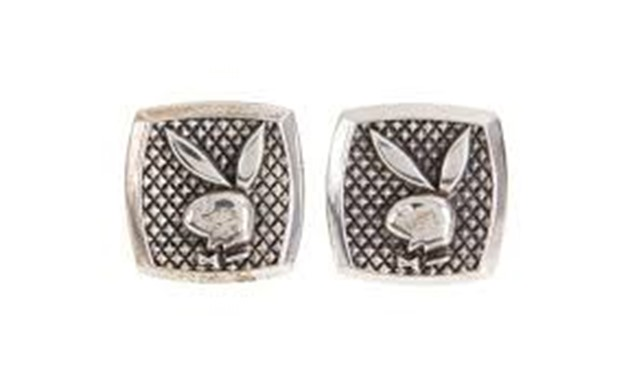 Playboy founder Hugh Hefner's cufflinks from Hugh Hefner collection going up for sale as part of an auction of his belongings is seen in this image released by Julien's Auctions in Culver City, California, U.S., October 11, 2018. Courtesy Julien's Auction