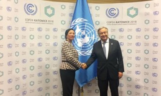 Environment Minister Yassmin Foad with the UN Secretary General - Press Photo