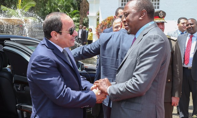 President Abdel Fatah al-Sisi (L) received by his Kenyan counterpart Uhuru Kenyatta in February in Nairobi - Source: Uhuru Kenyatta's official twitter