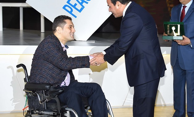President Abdel Fatah al Sisi with Mahmoud Shalaby during WYF closing ceremony, November 9, 2017 - Press Photo