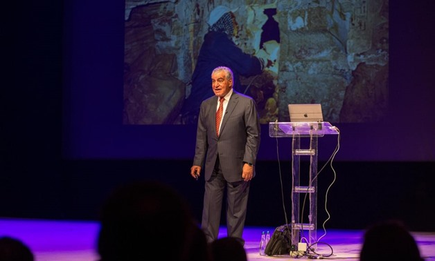 Veteran Egyptian archaeologist Zahi Hawass during his lecture - Facebook