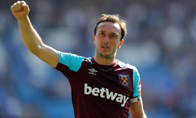 King Power Stadium, Leicester, Britain - May 5, 2018 West Ham United's Mark Noble celebrates after the match REUTERS/Darren Staples