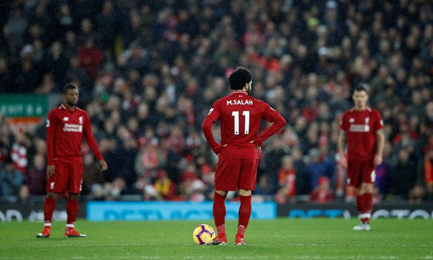 Soccer Football - Premier League - Liverpool v Manchester United - Anfield, Liverpool, Britain - December 16, 2018 Liverpool's Mohamed Salah looks on before restarting the match after Manchester United's Jesse Lingard (not pictured) scores their first goa