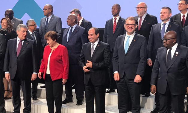 President Abdel Fatah al-Sisi posing for a group photo prior to the opening of the High-Level Forum Africa-Europe in Vienna, Austria. December 18, 2018. Press Photo