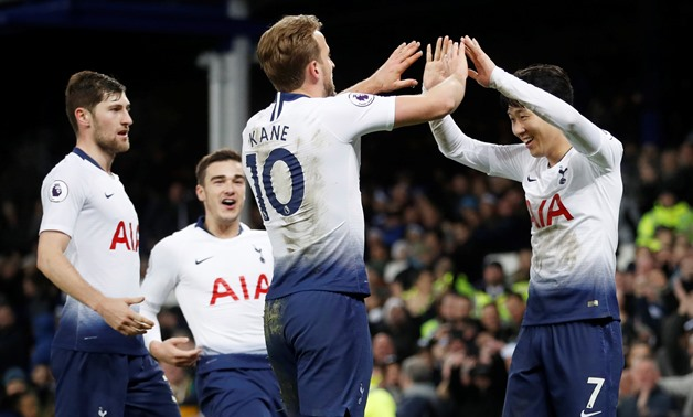 Soccer Football - Premier League - Everton v Tottenham Hotspur - Goodison Park, Liverpool, Britain - December 23, 2018 Tottenham's Harry Kane celebrates scoring their sixth goal with Son Heung-min Action Images via Reuters/Carl Recine EDITORIAL USE ONLY.